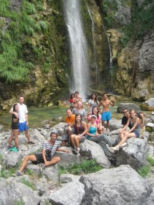 Waterfall with the whole group